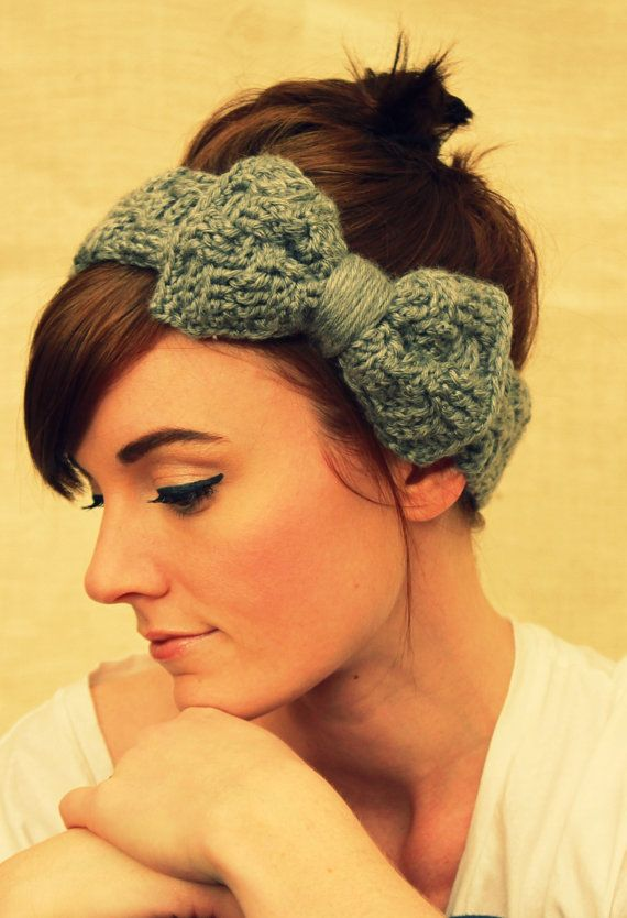 Gray crocheted basket weave headband with bow by SadieWade on Etsy ...