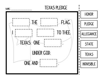 photo relating to Texas Pledge Printable named United Says and Texas Pledge of Allegiance Slice and Paste