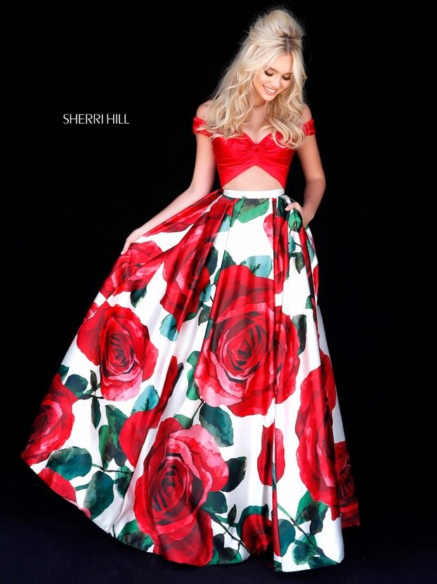 Sherri Hill 51815 Red Spring 2018 Collection 2 Piece Rose Floral ...