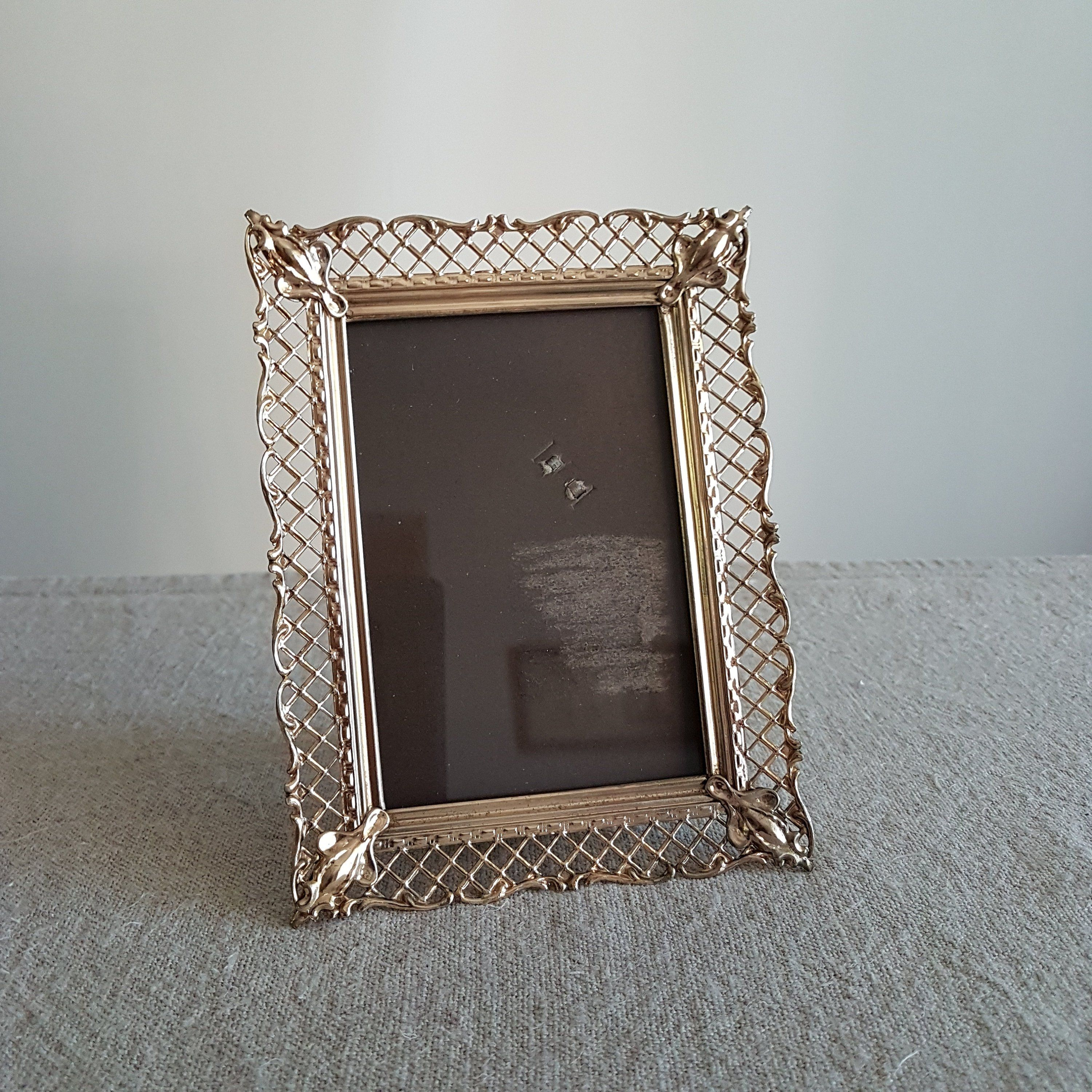 3 12 X 5 Gold Metal Picture Frame W Ornate Filigree Net Like