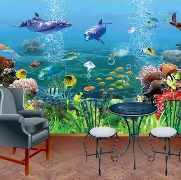 3d Dolphins Coral Underwater Wallpaper Mural Design Underwater Wallpaper Mural Design Mural Wallpaper