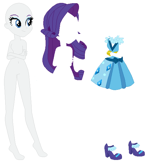 Equestria Girls Party Dress Rarity Base By Selenaede Paper Doll