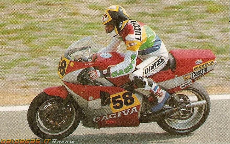 Marco Lucchinelli on Cagiva at Monza, the last time a premier class Champion have a wild card ride. 1986 Nations GP