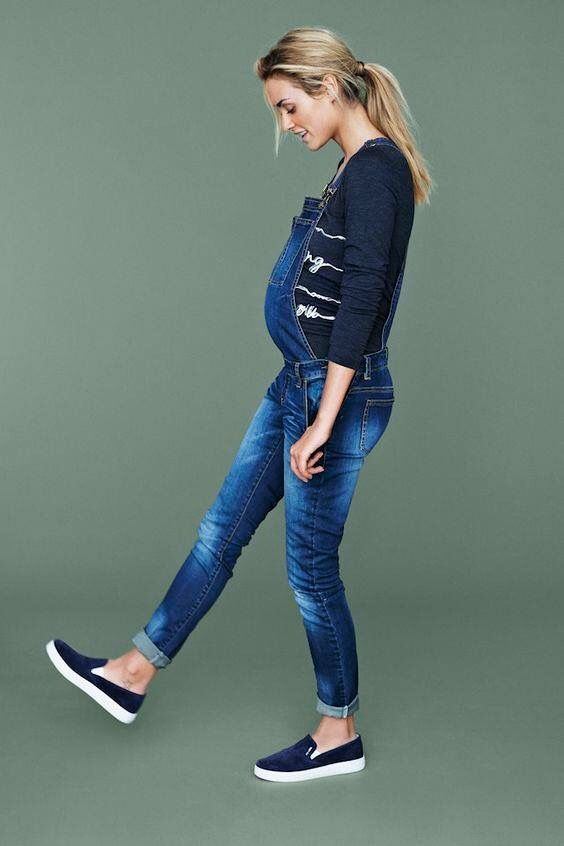 Pantalon De Pechera Moda Para Embarazadas Moda Embarazada Moda De Maternidad