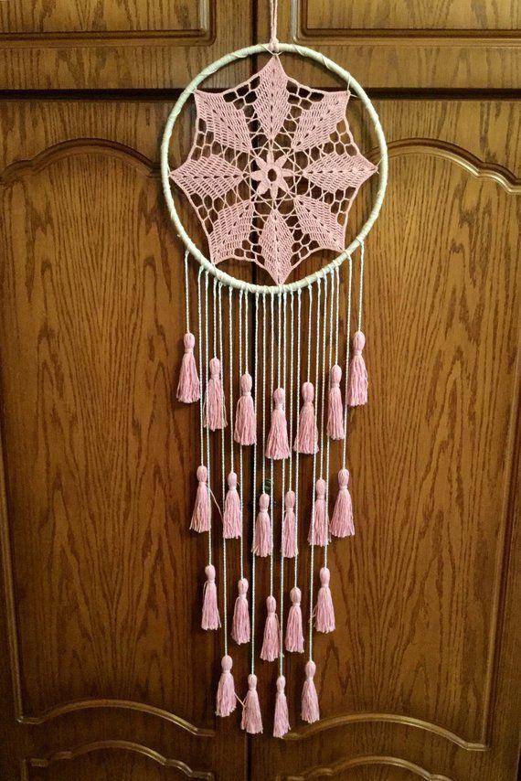 Blush Pink Dream Catcher Tassel Wall Hanging Large   Etsy