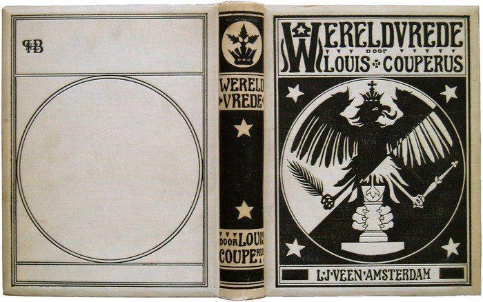 Hendrik Petrus Berlage (Dutch architect) 1856 - 1934, Louis Couperus, Wereldvrede, 1895, book binding design, 16 x 21 cm., s.l.