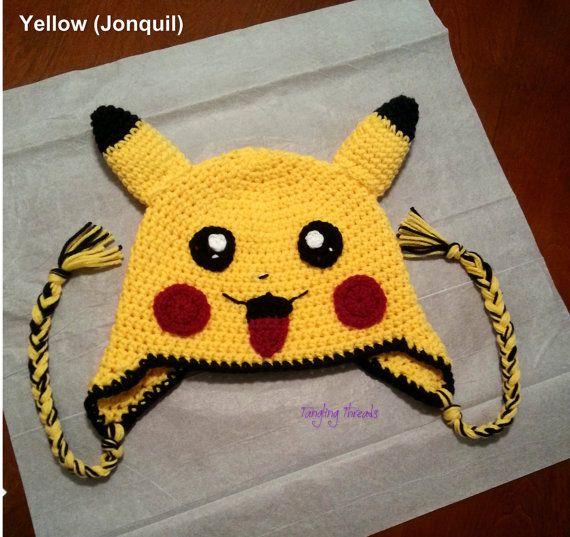 Pikachu Hat Crochet Pokmon Hat Halloween By Tanglingthreads Pey