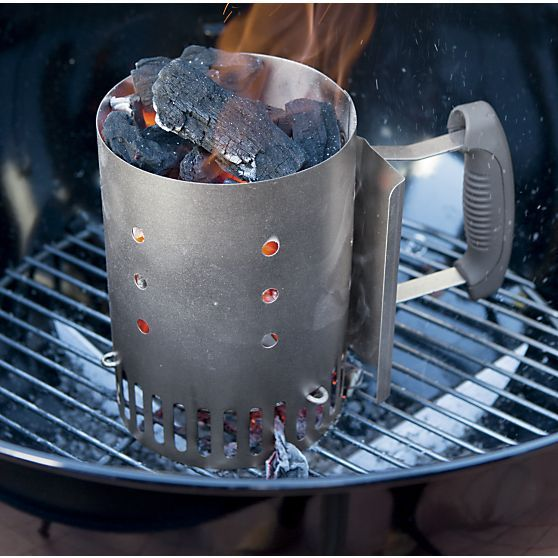Grilling Tip If You Re Cooking On A Charcoal Grill Use A Chimney Starter To Light The Coal Easily Without Lighter Fluid Crate And Barrel Charcoal Bbq Crates