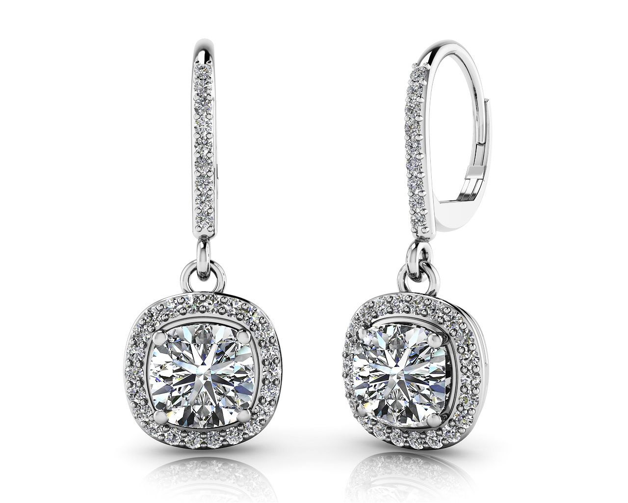 Ravishing Cushion Cut Diamond Drop Earring