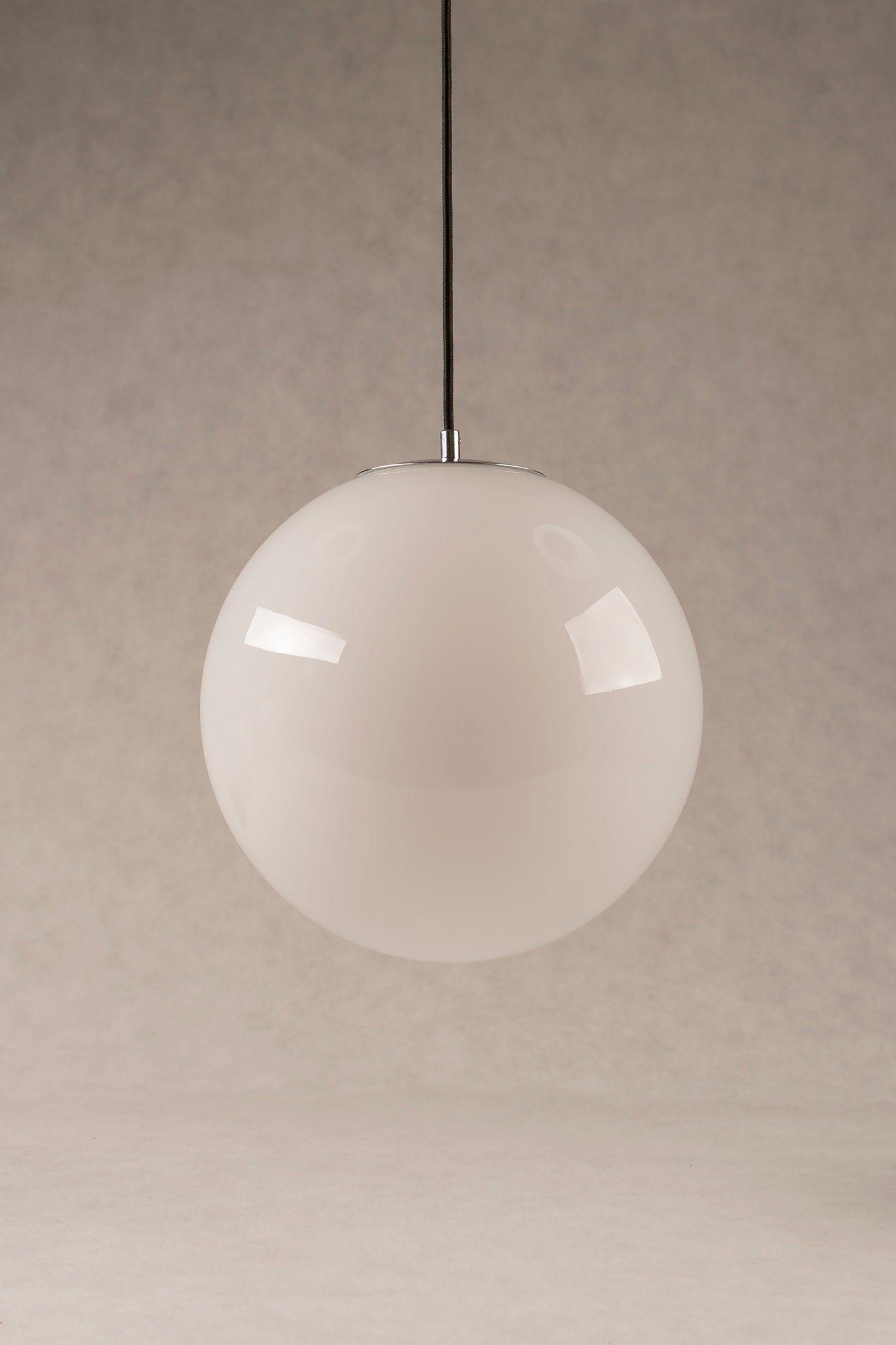Lampa Biala Kula Wykonczona Chromem Lub Mosiadzem Lampa Wiszaca Art Deco Globe Pendant Light Ball Lamps Handblown Glass Pendant