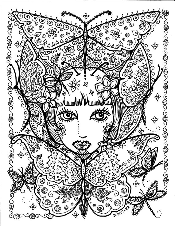 Adulting coloring pages ~ 4 pages to color Instant Download Butterfly and Dragonfly ...