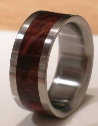 tungsten wooden mens wedding band 390