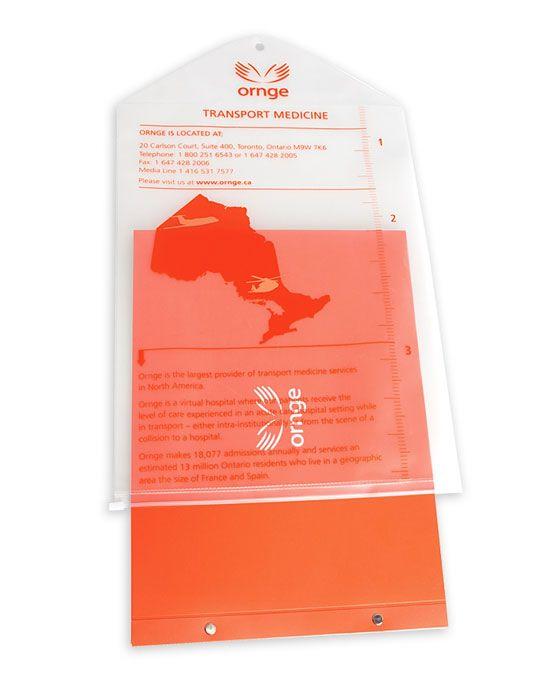 translucent bag holding brochure