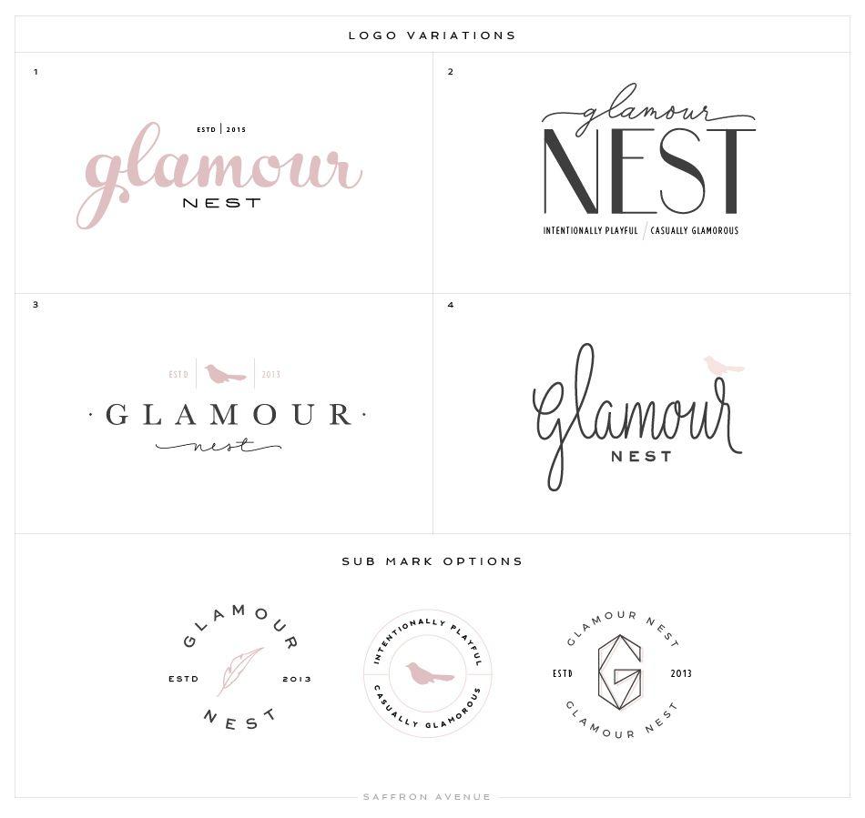 logo website design glamour nest interior design saffron