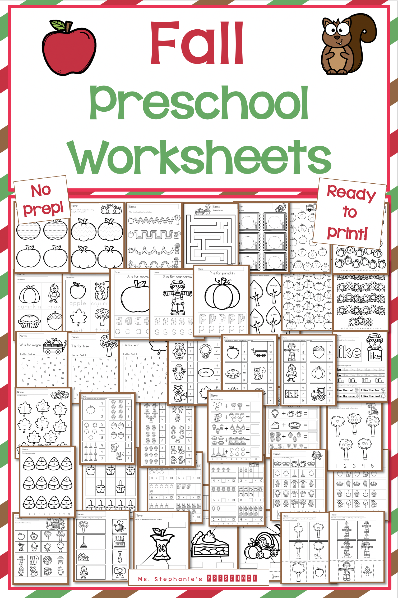 Fall Preschool Worksheets In