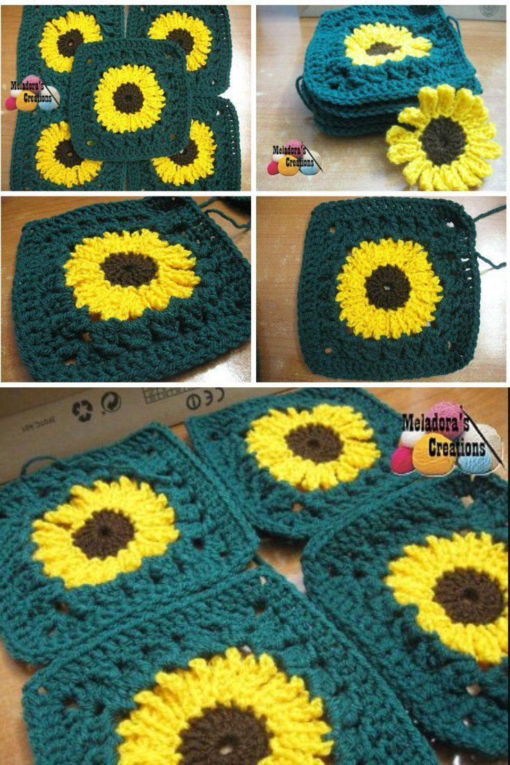 Sunflower Granny Square - Free Crochet Pattern | Pinterest | Square ...