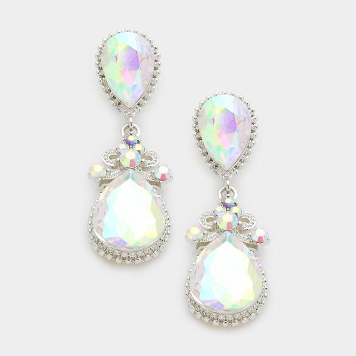WHIMSICAL Gold Pacific Opal Crystal 2 inch Cocktail Earrings By Rocks Boutique