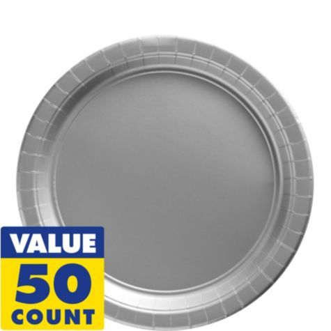Silver Paper Lunch Plates 50ct