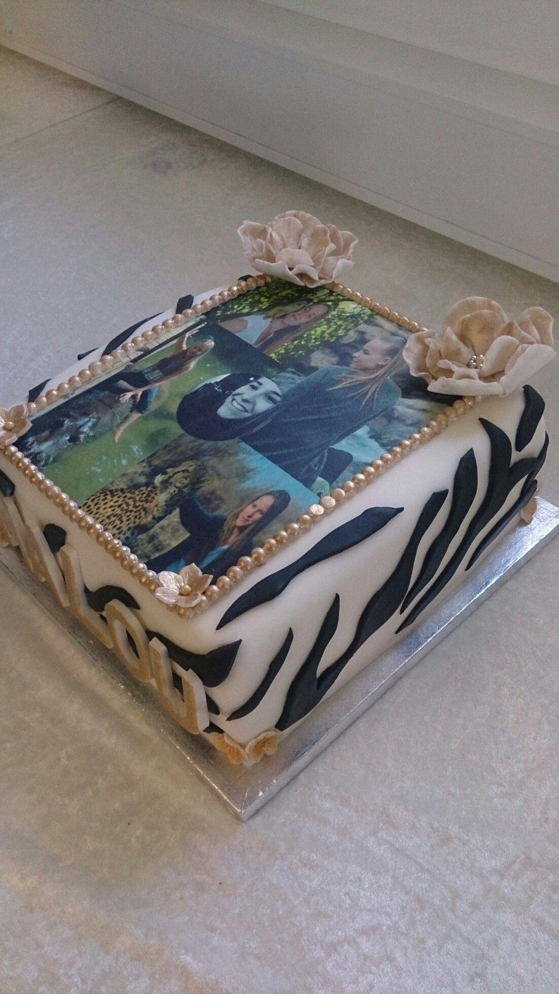 Torta con foto de azucar y flores Fondant y zebra