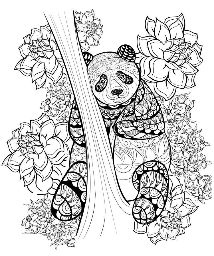 Animal Coloring Pages For Adults Panda | Panda coloring ...