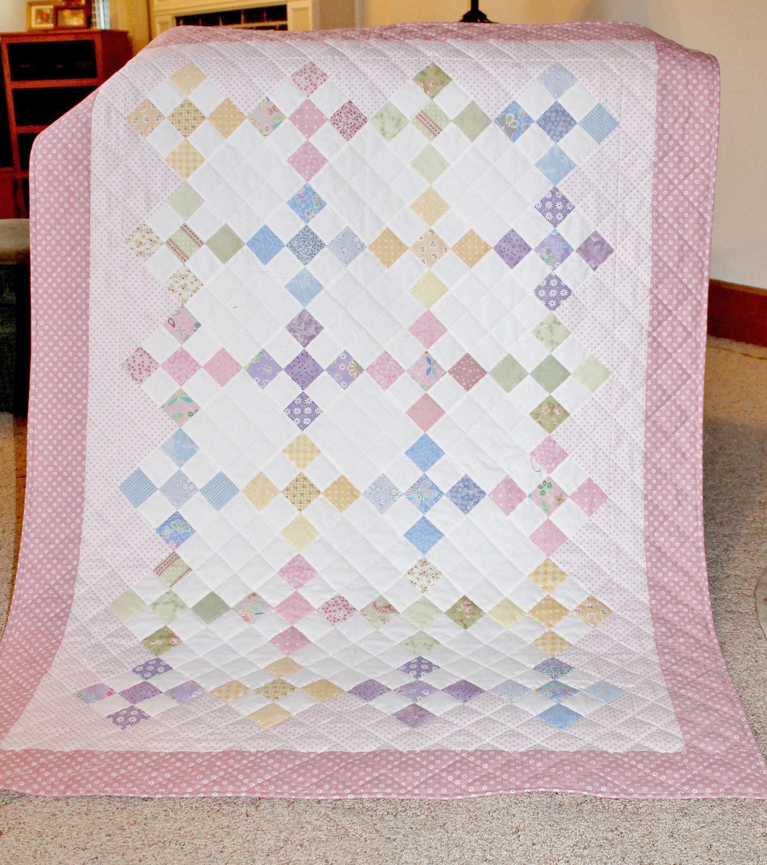 Nine Patch For Baby Girl By Rhonda Byrd Baby Girl Quilts Girl