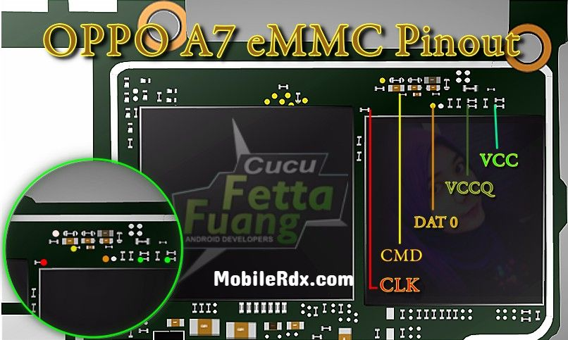 Oppo A7 EMMC Pinout Remove User Lock Pattern And FRP