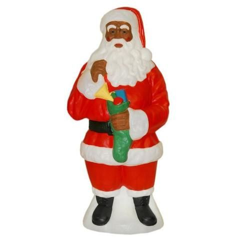 African American Santa Claus Light Up Yard Christmas Decoration
