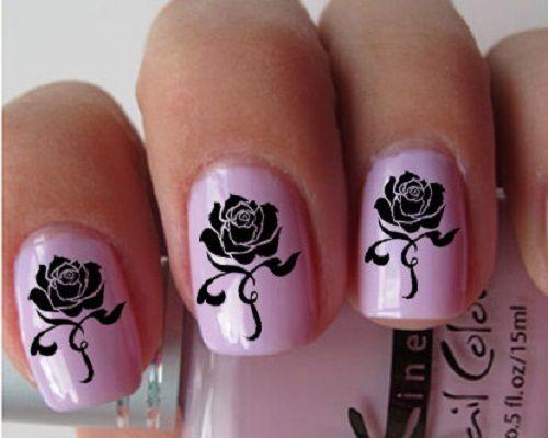 Nine inch nails black roses nail designs roses nail art nine inch nails black roses nail designs prinsesfo Images