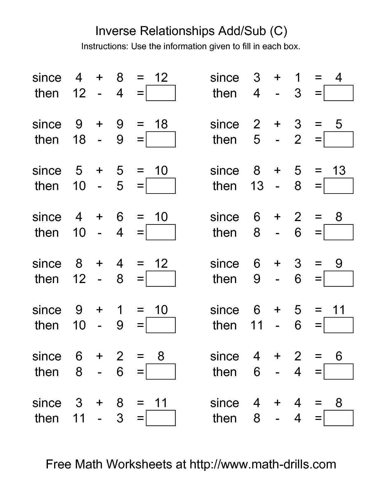 The Inverse Relationships Addition And Subtraction