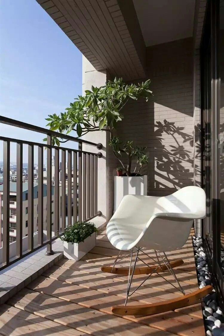 Apartment balcony ideas pictures to pin on pinterest - Architecture Villa Fabulous Apartment Balcony Design With White Rocking Chair With Wooden Floor And Iron Fencea White Chair Modern Small Condo Patio Ideas