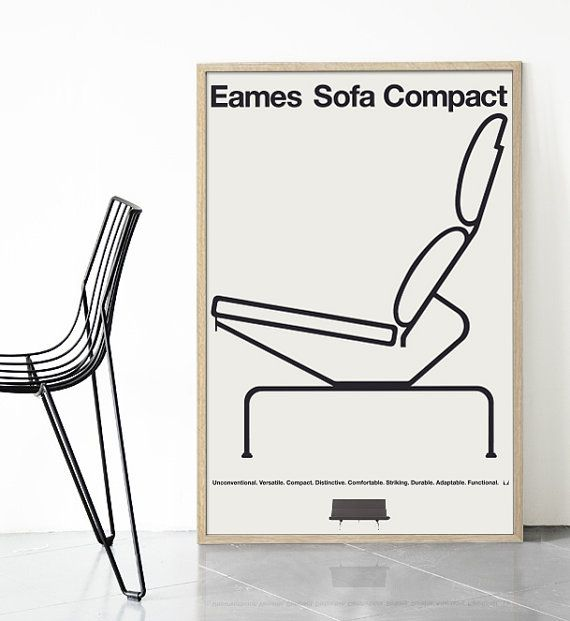 Mid Century Modern Eames Sofa Compact Poster Print Herman Miller Danish Scandinavian Nordic Abstract Minimalist Vitra Free Global Shipping