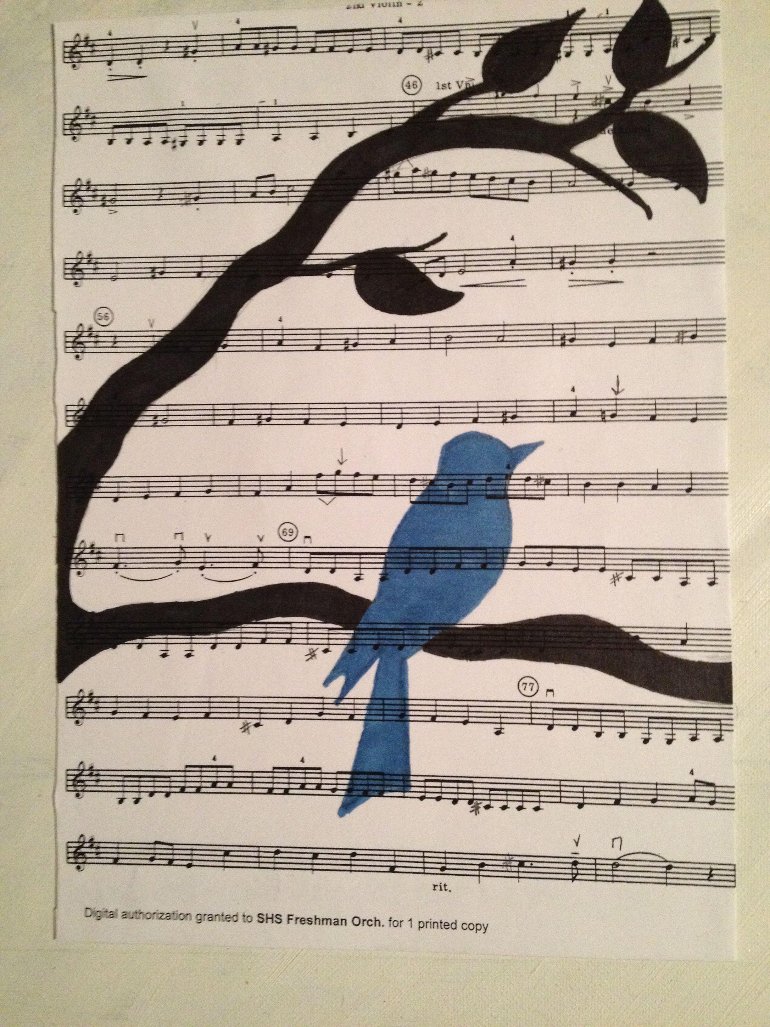 A sheet music bird. Credit to http://3.bp.blogspot.com/_ElgC8_vQlz0/TFo75baJFLI/AAAAAAAAItw/JwQy1hLyCJ0/s1600/DSC06035.JPG For the idea. IreneTheWorld
