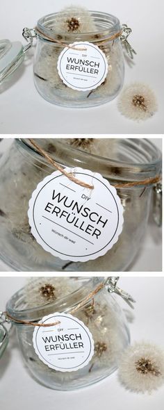 diy wunscherf ller pusteblume free printable idee pinterest selbermachen geschenke. Black Bedroom Furniture Sets. Home Design Ideas