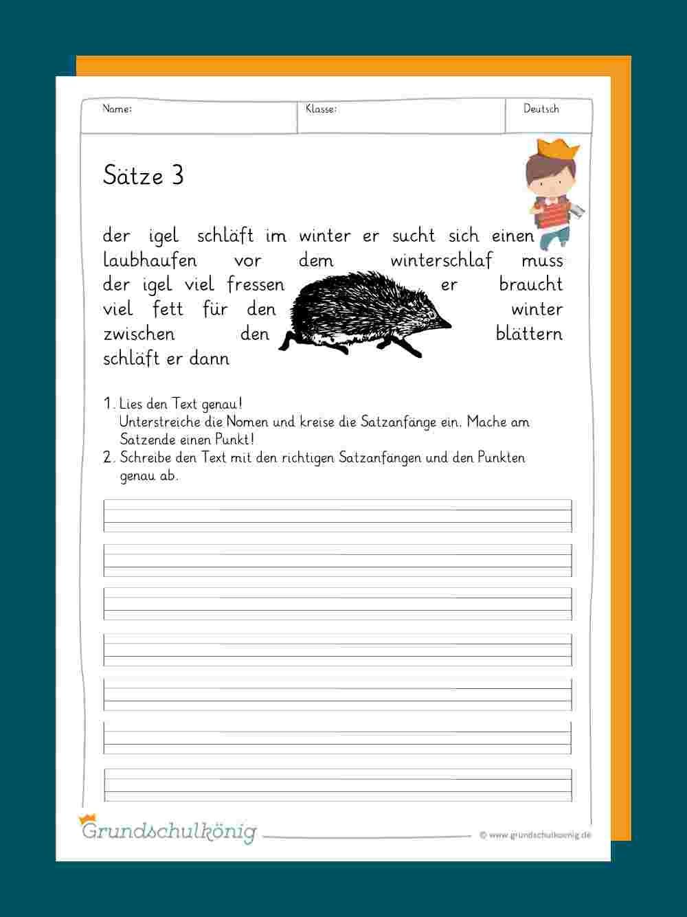 Sätze / Satzbau   Satzbau, Rechtschreibung lernen, Genaues lesen