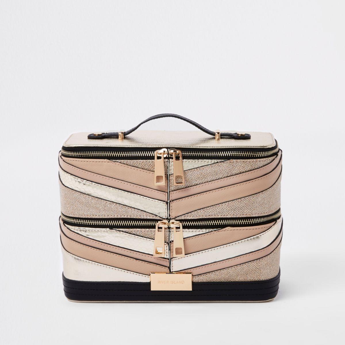 Gold Glitter Panel Vanity Case Womens Purses Women Handbags Purses