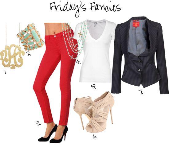 Red Jeans, a class blazer and a white v-neck