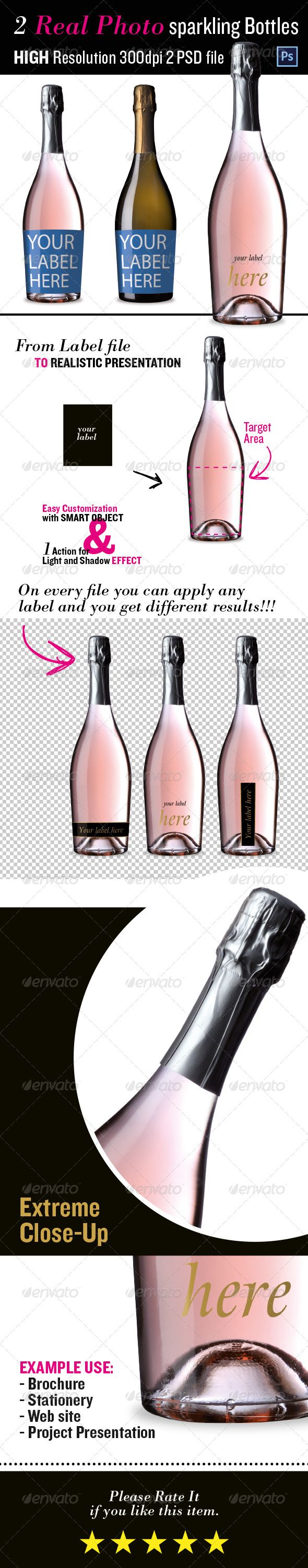 Sparkling Wine Bottles Mockup | #winebottlemockup #mockup | Download: http://graphicriver.net/item/sparkling-wine-bottles-mock-up/8742548?ref=ksioks