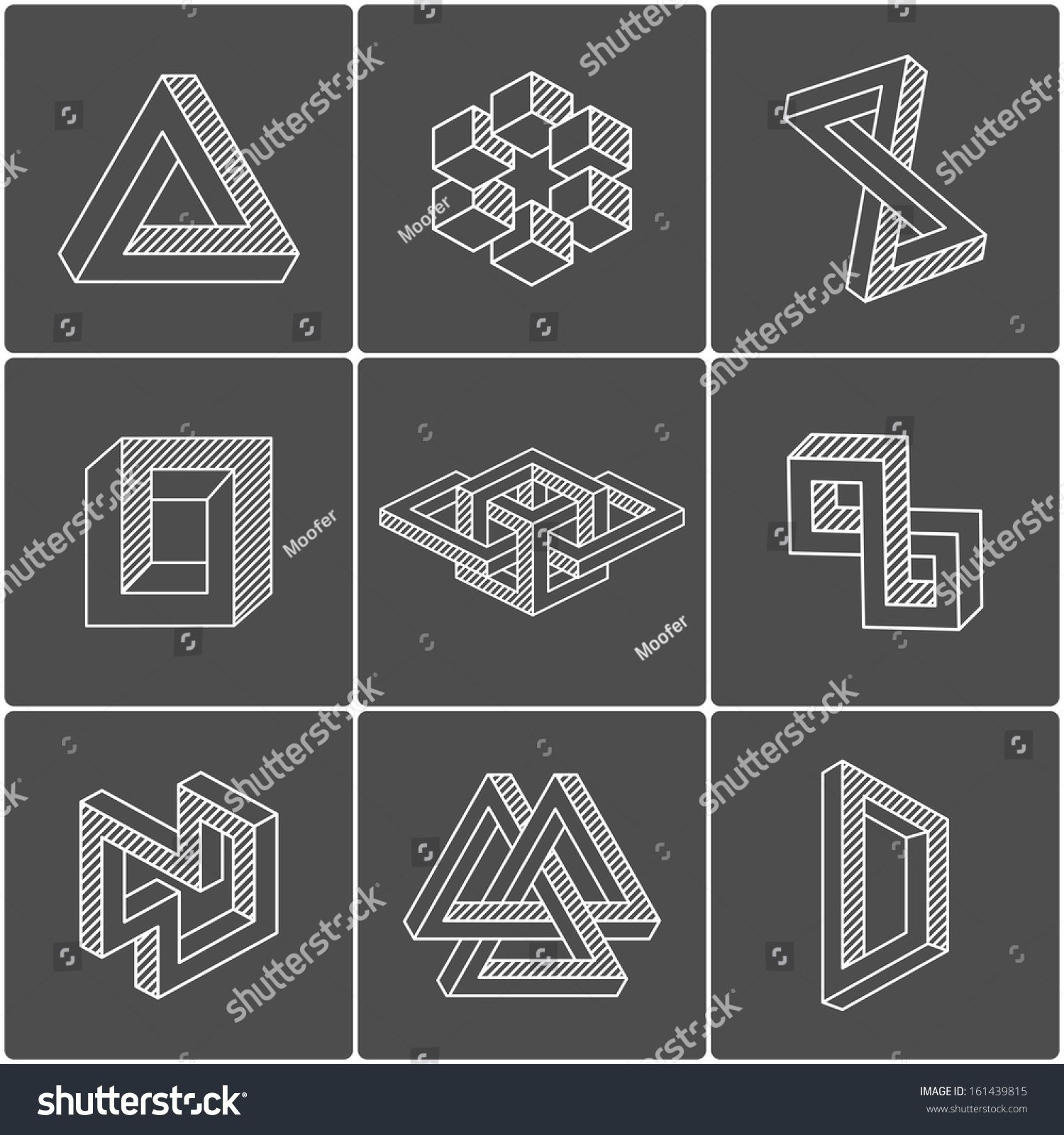 Geometric optical illusion shapes for logo or identity for Geometric illusion art