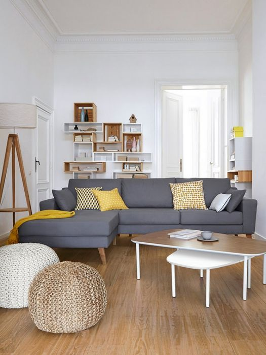 Combinación De Gris, Amarillo Con Blanco Y Madera. #decoración #decor #ideas