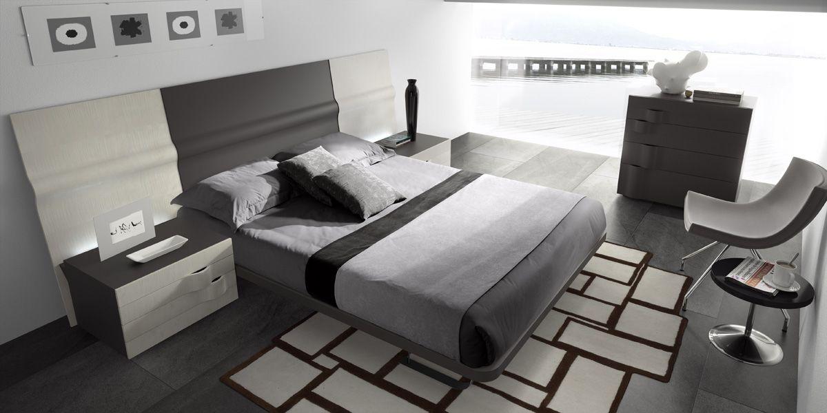 Colección 2015 Soft de dormitorios de matrimonio estilo moderno en tonos blancos, grises y azules del fabricante de Muebles Mesegué