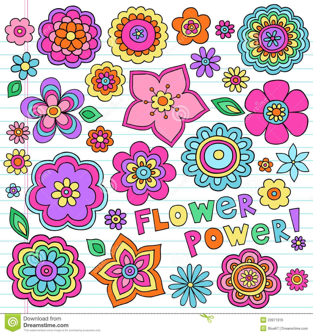 Love flower power daisy graffiti print cotton fabric 60s 70s retro - La Potencia De Flor Psicodlica Doodles El Conjunto