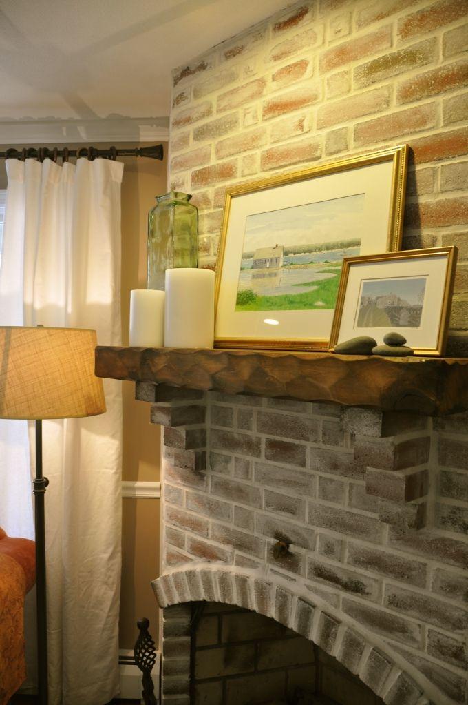 Fireplace Mantel   Bricks, Faux brick walls and Fireplace mantel