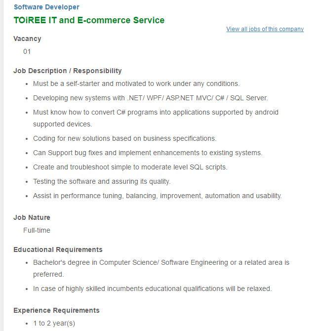Career \u2013 TOiREE IT and E-commerce Service \u2013 Software Developer