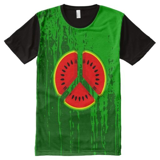Watermelon Peace Symbol All-Over Print T-shirt