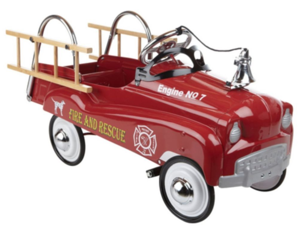 Classic Red Fire Truck for Kids Pedal Toy Ride Retro