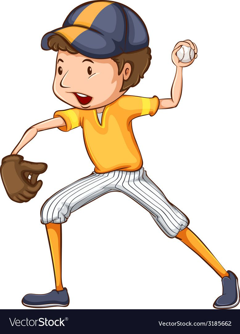 A Coloured Drawing Of A Baseball Player Vector Image On Vectorstock Baseball Players Baseball Cartoon People