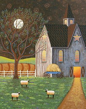 """""""Evening Glow"""" Folk Art Painting by Mary Charles Prints at Fine Art America"""