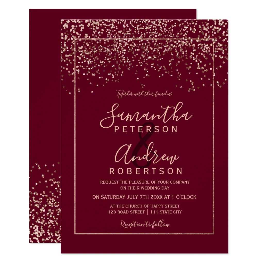 Rose Gold Confetti Red Burgundy Typography Wedding Invitation Zazzle Com Typography Wedding Invitations Wedding Invitation Confetti Rose Gold Confetti