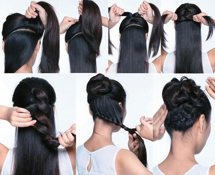 Peinado recogido con trenza, una opción simple y elegante   UÑAS ...