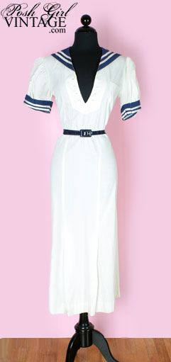 1930s white sailor style dress